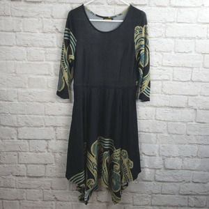 Reborn Stretch Knit Dress  3/4 sleeve Handkerchief